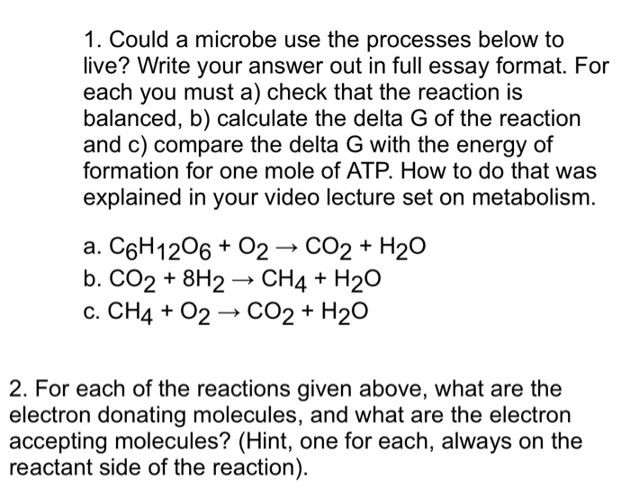 Solved  Could A Microbe Use The Processes Below To Live   Could A Microbe Use The Processes Below To Live Write Your Answer Out