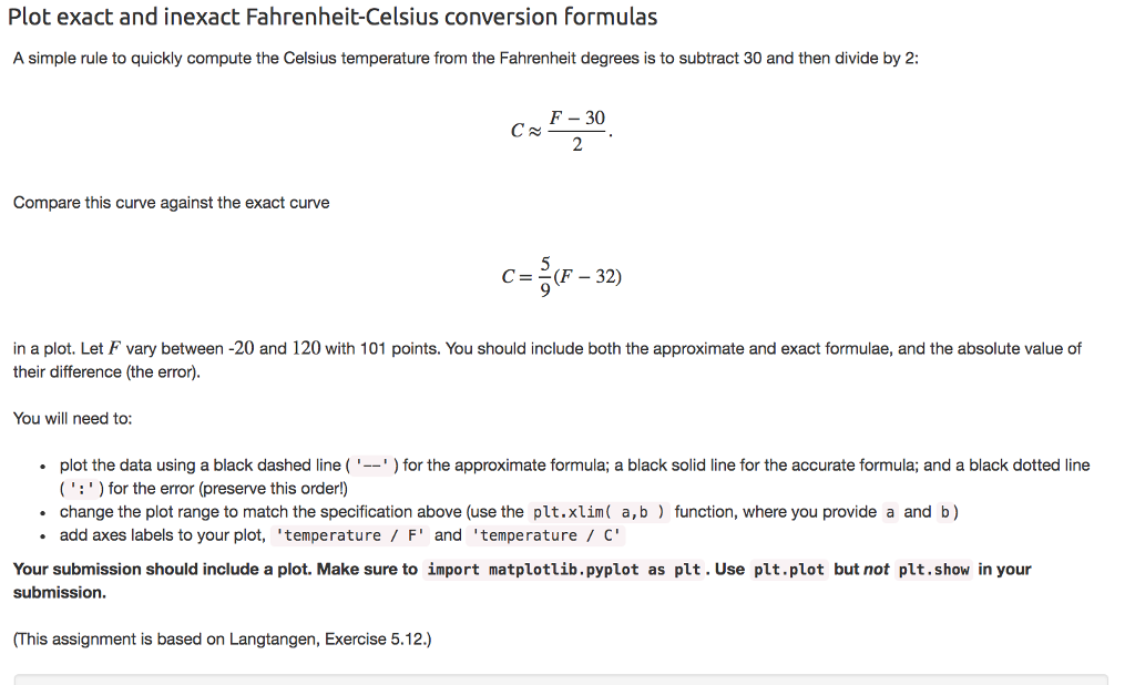 Plot exact and inexact Fahrenheit-Celsius conversion formulas A simple rule  to quickly compute the