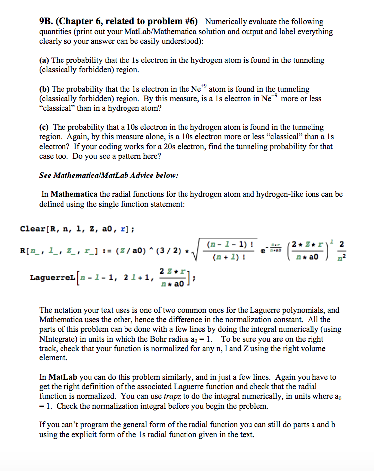 Solved: 9B  (Chapter 6, Related To Problem #6) Numerically
