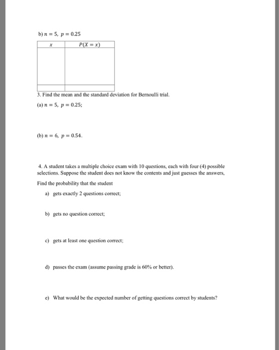 Solved 1 Of 2 Math224 Worksheet 53 The Binomial Distribu