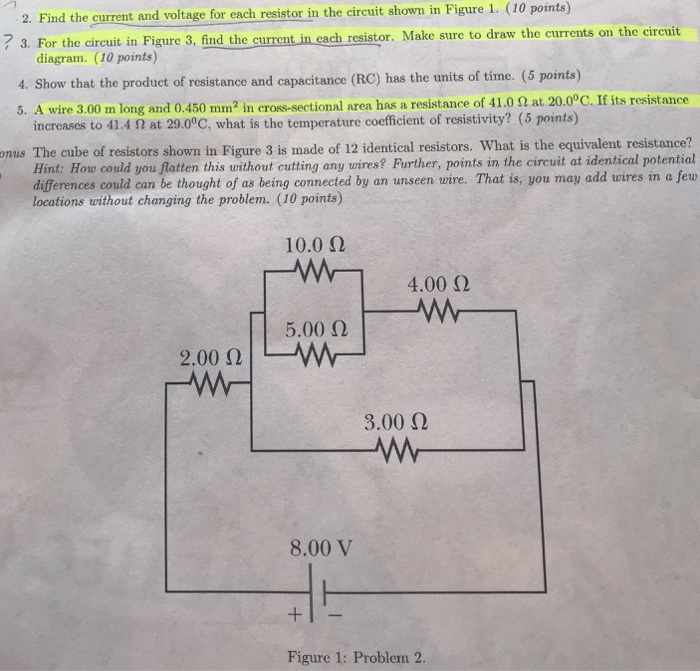 Solved: Problem 2: Find The Current And Voltage For Each R ...