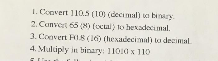 Convert 110 5 10 Decimal To Binary 2 65