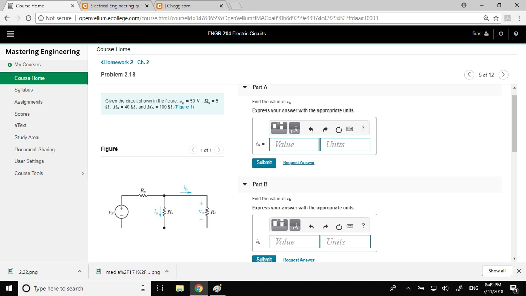 Solved: Course Home XC Electrical Engineering Que X CChegg