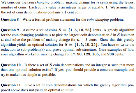 Solved: We Consider The Coin Changing Problem: Making Chan