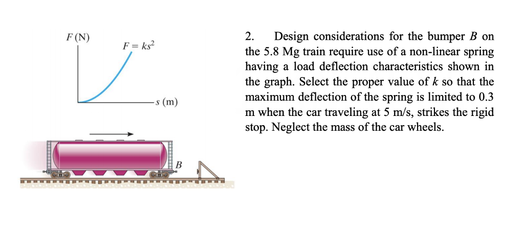 F(N) 2. Design considerations for the bumper B on the 5.8 Mg train require use of a non-linear spring having a load deflection characteristics shown in the graph. Select the proper value of k so that the maximum deflection of the spring is limited to 0.3 m when the car traveling at 5 m/s, strikes the rigid stop. Neglect the mass of the car wheels. F s (m)