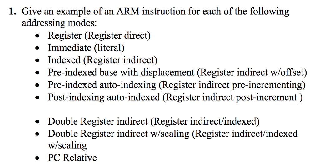 Solved 1 Give An Example Of An Arm Instruction For Each