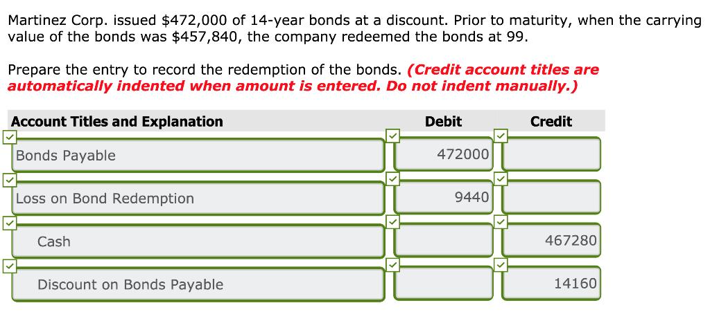 redemption of bonds payable