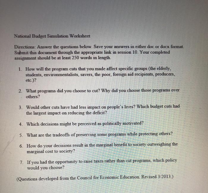 National Budget Simulation Worksheet Directions Chegg Com
