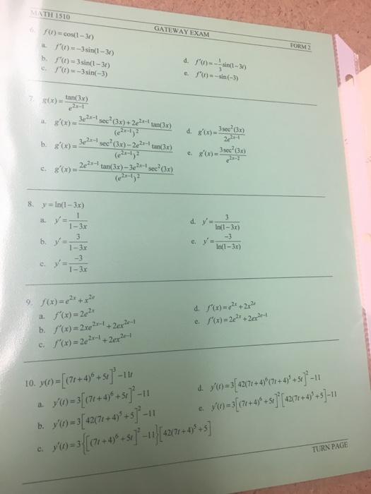 Solved: MATH 1510 GATEWAY EXAM 6fu)-cos(l-3r) FORM 2 B, R