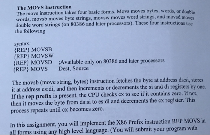 The Movs Instruction Bytes Double The Movs Instruction Takes Four Basic Forms Movs Moves