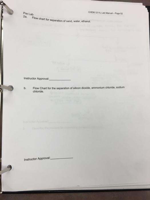 Solved Chem 1211l Lab Manual Page 52 Pre Lab 2a Flow Cha