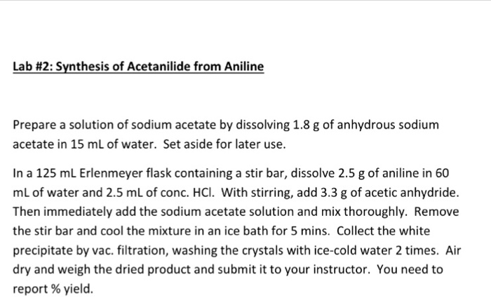 synthesis of acetanilide from aniline lab report