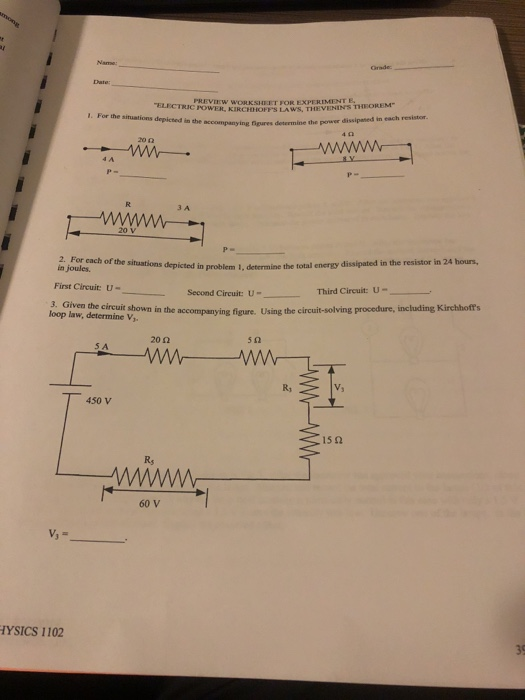 Solved Preview Worksheet For Experiment E Electric Power