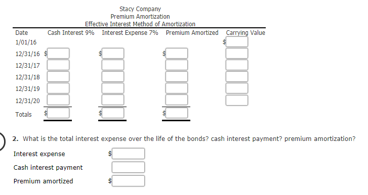 solved  amortization of premium stacy company issued five
