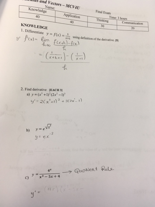 Solved: LIDs And Vectors -MCV4U Name: Final Exam Thinking