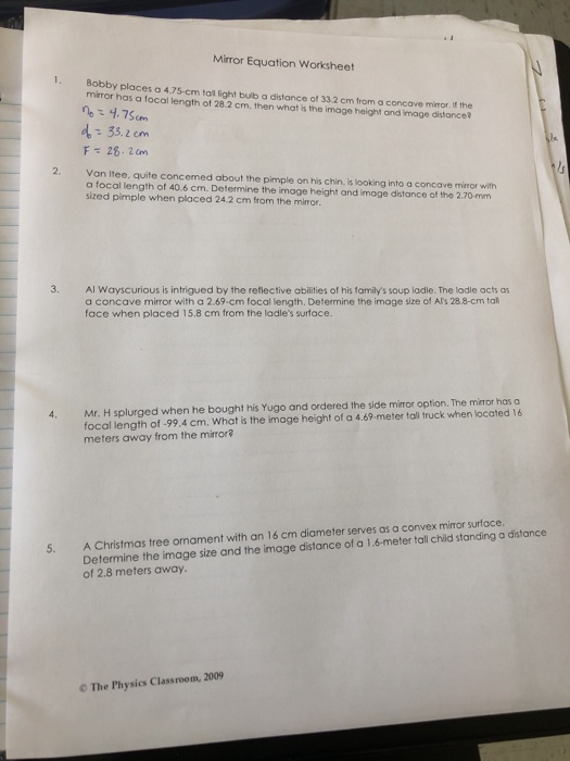 Solved: Mirror Equation Worksheet 1 Bobby Places A 4 75-cm