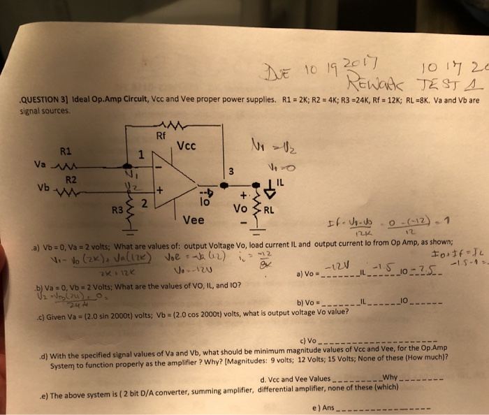 2cl Question 3 Ideal Op Amp Circuit Vcc And Vee Proper Supplies