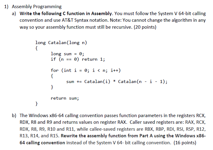 Solved: A) Write The Following C Function In Assembly  You