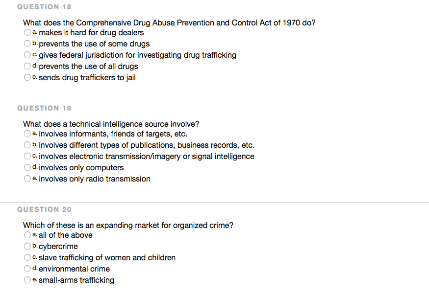 Solved: QUESTION 18 What Does The Comprehensive Drug Abuse