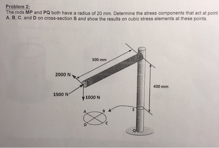 Problem 2: The rods MP and PQ both have a radius of 20 mm. Determine the stress components that act at point A, B, C, and D on cross-section S and show the results on cubic stress elements at these points. 500 mm 2000 N 400 mm 1500 N 1000 N