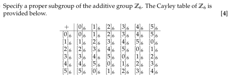 Solved Specify A Proper Subgroup Of The Additive Group Z6