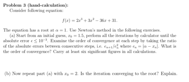 Solved: Problem 3 (hand-calculation): Consider Following E