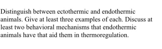 a description of the understand of ectothermic and endothermic animals