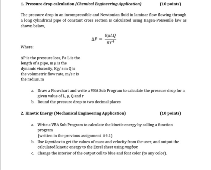 Solved: 1  Pressure Drop Calculation (Chemical Engineering