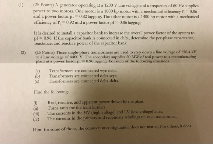 Solved: (25 Points) A Generator Operating At A 1200 V Line