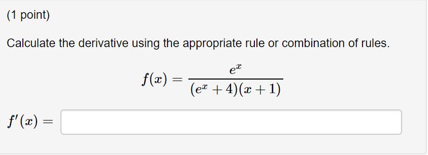 solved 1 point calculate the derivative using the appro chegg com chegg
