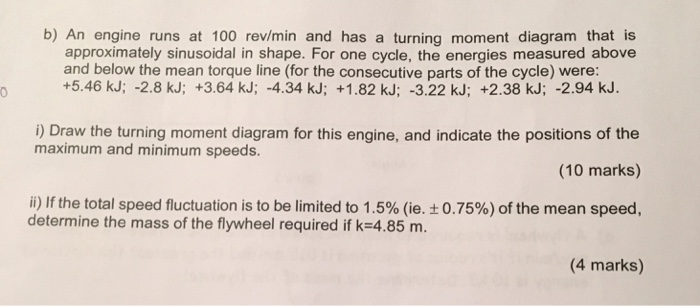Solved: B) An Engine Runs At 100 Rev/min And Has A Turning ...