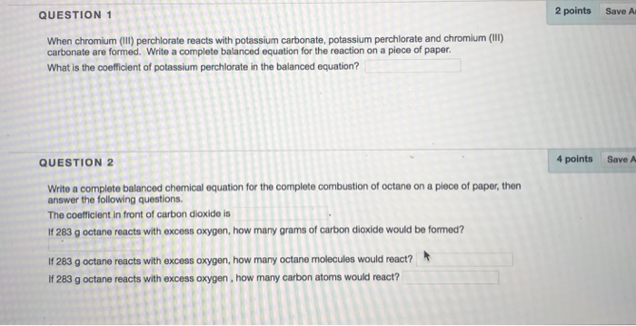 Solved Question 1 2 Points Save A When Chromium Ii Perc
