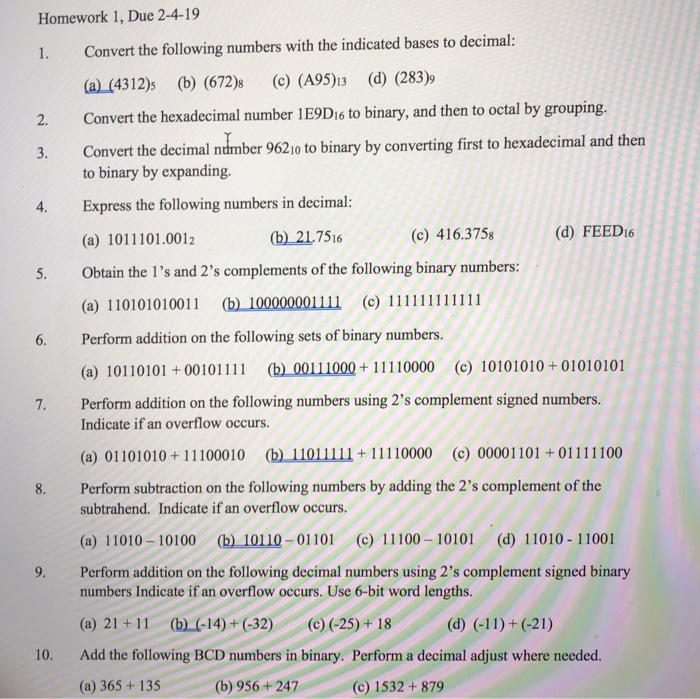 Homework 1 Due 2 4 19 Convert The Following Numbers With
