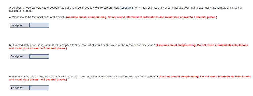 Solved A 20 Year 1 000 Par Value Zero Coupon Rate Bond