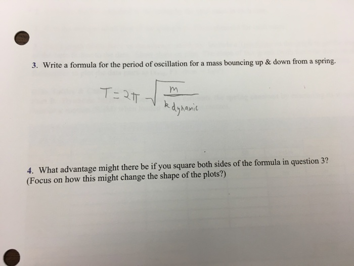 Solved: 3  Write A Formula For The Period Of Oscillation F