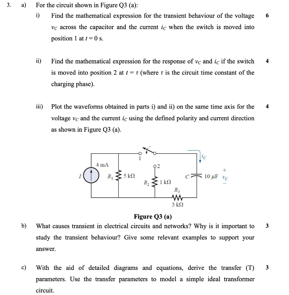 3 A For The Circuit Shown In Figure Q3 I F Some Parallel Circuits Have Switches As