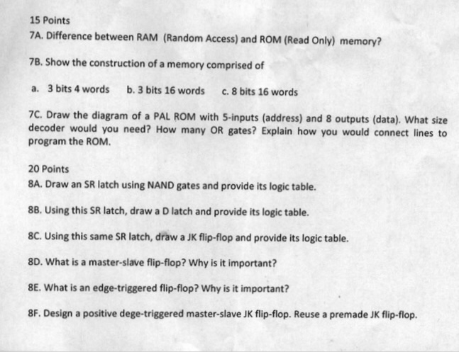 Solved: Architecture Class, Any Help Solving Q 7 And All I