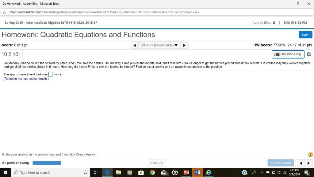 Solved: Do Homework - Aubrey Bliss - Microsoft Edge 凸! Ht