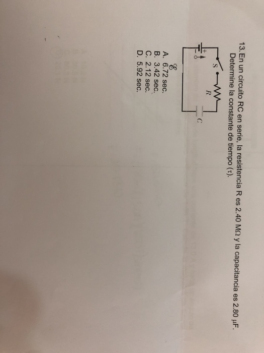 Circuito Rc : Solved: in a rc circuit in series the resistance r is 2.4