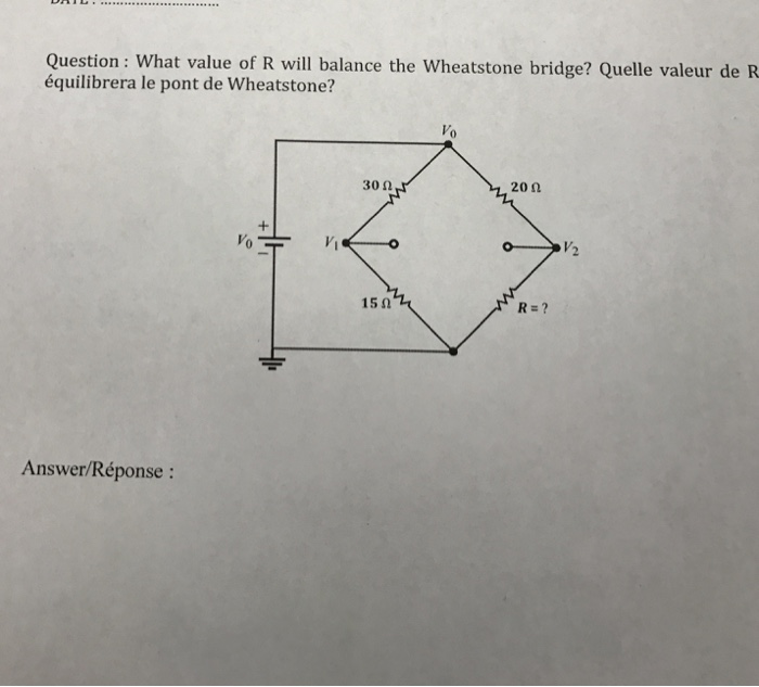 Solved What Value Of R Will Balance The Wheatstone Bridge