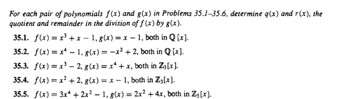 Solved: For Each Pair Of Polynomials F(x) And G(x) In Prob