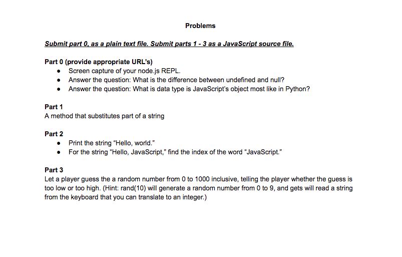 Problems Submit Part 0, As A Plain Text File  Subm