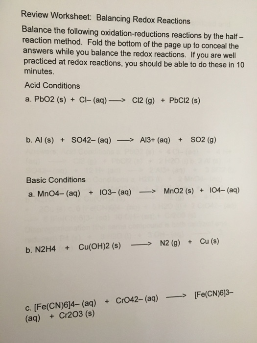 Solved: Balance The Following Oxidation-reductions Reactio ...