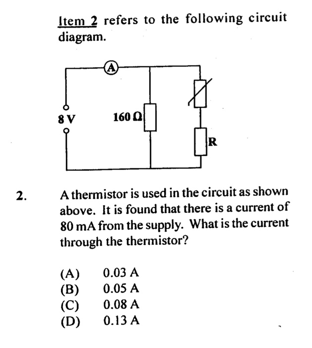 Solved Item 2 Refers To The Following Circuit Diagram 160