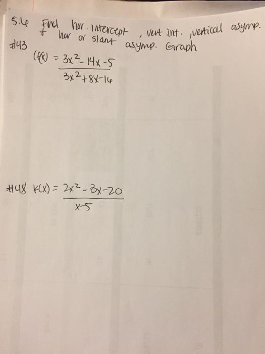 Solved: Graph F(x) = 3x^2 - 14x - 5/3x^2 + 8x - 16 K(x) = | Chegg.com