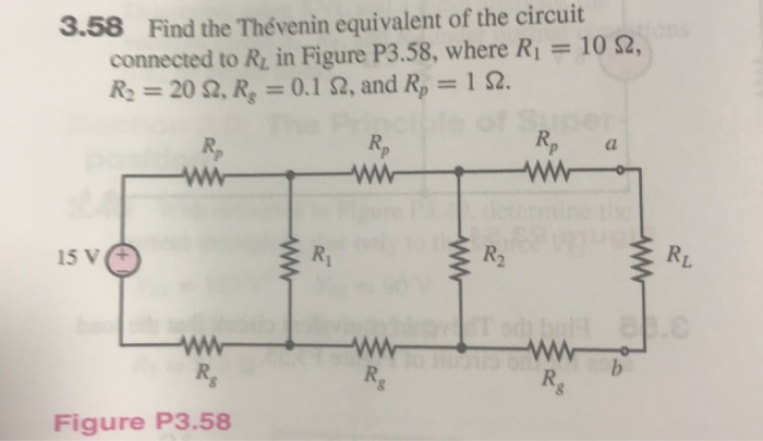 3.58 Find the Thévenin equivalent of the circuit connected to R, in Figure P3.58, where R1-10 Ω, R, = 20 Ω, R, = 0.1 Ω, and R,-IQ. Figure P3.58