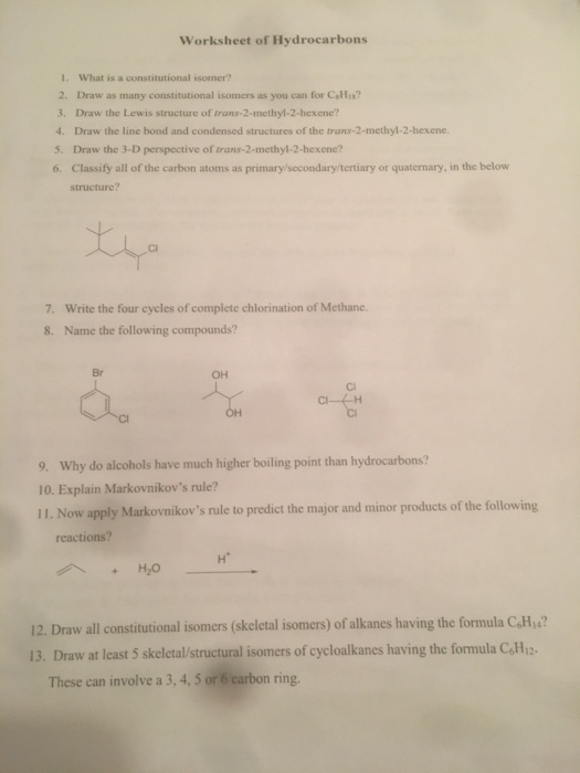 Solved Worksheet Of Hydrocarbons 1 What Is A Constitutio