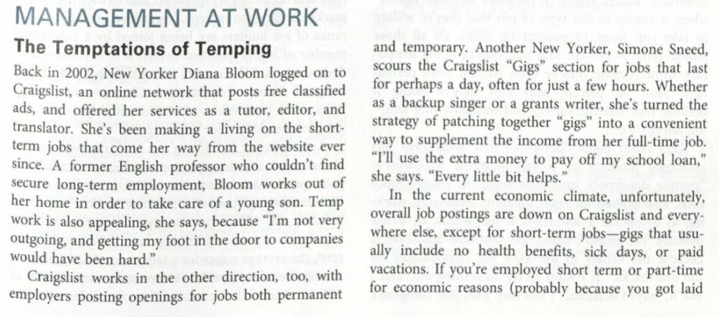 Solved: MANAGEMENT AT WORK The Temptations Of Temping And