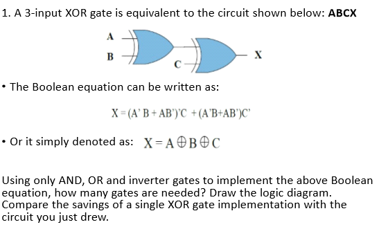 logic diagram of xor gate solved 1 a 3 input xor gate is equivalent to the circuit  1 a 3 input xor gate is equivalent to