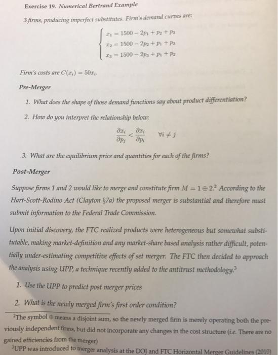 Exercise 19 Numerical Bertrand Example 3firms Pr Chegg